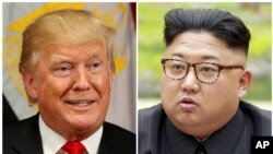 Une combinaison de photos montre le président américain Donald Trump à New York, le 21 septembre 2017 et le dirigeant nord-coréen Kim Jong-Un dans cette image non datée publiée par l'agence de presse coréenne de Corée du Nord à Pyongyang, le 4 septembre 2017.