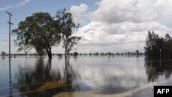 Quốc lộ Capricorn, 6km về phía nam của Rockhampton, bị ngập dưới làn nước lũ