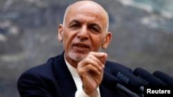 Afghan President Ashraf Ghani speaks during a news conference in Kabul, Afghanistan, June 30, 2018.