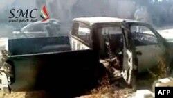 Chiếc xe bị phá hủy và đốt cháy ở làng Ibleen, tây bắc Jabal Al-Zawiyah sau khi khu vực này bị quân đội tấn công