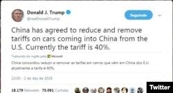 Tweet de Donald Trump sobre tarifas em exportações de carros para a China
