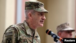 FILE - U.S. Army General John Nicholson speaks during a change of command ceremony in Resolute Support headquarters in Kabul, Afghanistan, March 2, 2016.