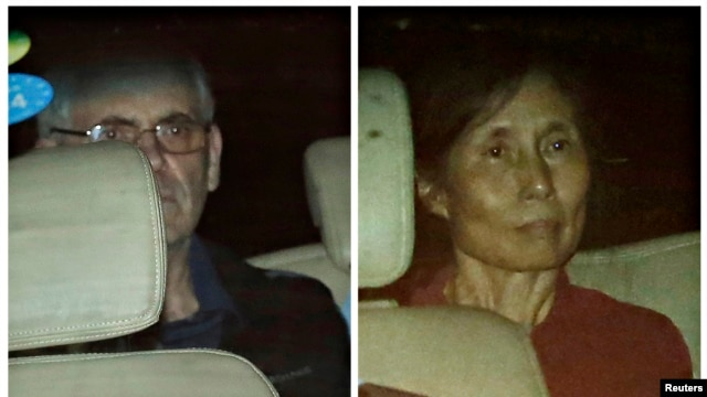 A combination photo shows British corporate investigators Peter Humphrey and Yu Yingzeng as they leave court in a police car in Shanghai Aug. 8, 2014.