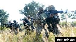 미국과 한국 해병대 장병들이 지난 2일 백령도에서 합동전술훈련을 하고 있다.