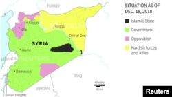 Daerah yang berada di bawah kontrol Suriah, 18 Desember 2018 (grafik: Carter Center; Natural Earth)
