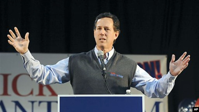 Republican presidential candidate former Pennsylvania Sen. Rick Santorum (file photo from Feb. 4, 2012