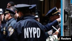 New York Police Department officers monitor a protest by the Occupy movement in New York City. (file)