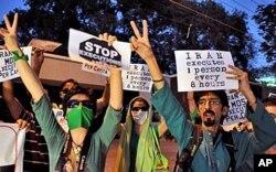 Des manifestants iraniens à l'oeuvre