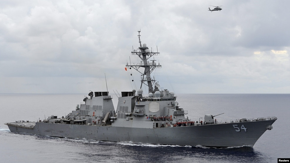 Tàu khu trục tên lửa dẫn đường USS Curtis Wilbur của Mỹ tuần tra trên Biển Đông. (Ảnh tư liệu)