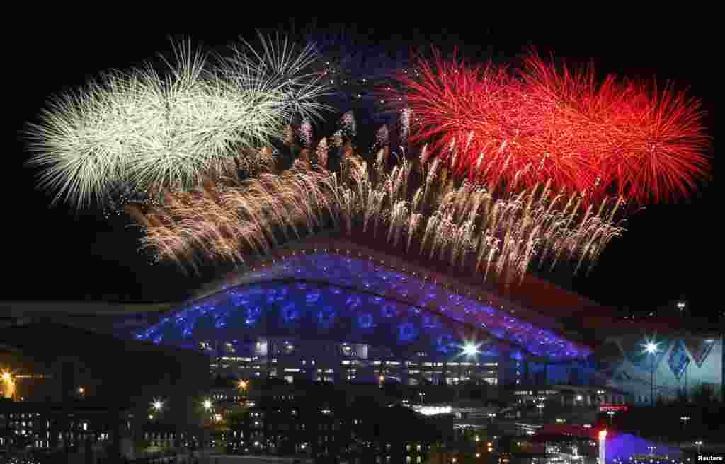 Fireworks are seen over the Olympic Park during the opening ceremony of the Sochi 2014 Winter Olympics, Feb. 7, 2014.