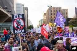 Demonstrations against the candidate of the PSL presidency, Jair Bolsonaro. Several acts were organized on the São Paulo avenue in Sao Paulo, Oct. 20, 2018.