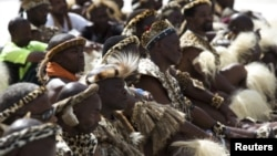 Zulu elders await the address of Zulu King Goodwill Zwelithini in Durban, South Africa, April 20, 2015.