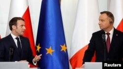 Президент Франції Еммануель Макрон та польський президент Анджей Дуда у Варшаві 3 лютого 2020 р.