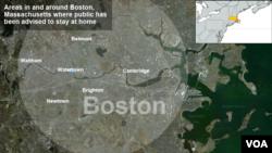 Peta wilayah pencarian tersangka pelaku bom Boston (19/4)