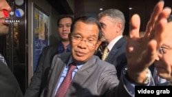 Prime Minister Hun Sen responses to questions posed by VOA Khmer reporters as he entered the United Nations headquarters in New York, September 28, 2018.