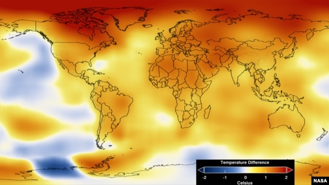 This map represents global temperature anomalies averaged from 2008 through 2012.  (NASA)