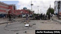 1일 소말리아 모가디슈의 호텔 폭탄테러 현장.