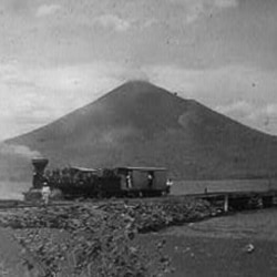 """A photo dated 1902 shows smoke coming from the Momotombo volcano, the """"smoking terror"""" in Nicaragua"""
