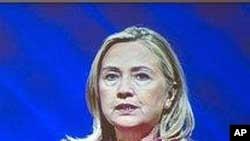 លោកស្រីរដ្ឋមន្រ្តីក្រសួងការបរទេសសហរដ្ឋអាមេរិក Hillary Rodham Clinton ធ្វើសន្ទរកថាដ៏សំខាន់មួយនៅសន្និសិទជំនួយក្នុងទីក្រុងប៊ូសាន ប្រទេសកូរ៉េខាងត្បូង។
