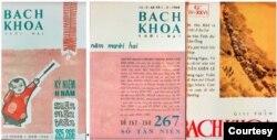 """Trái và giữa, bìa 2 số Bách Khoa Tết Mậu Thân 265 & 266 và Tân Niên 267 & 268 năm 1968 với chủ đề """"Những người cầm bút viết trong khói lửa đầu năm""""; Bách Khoa 426 ra ngày 19/04/1975, với hình bìa là một không ảnh chụp đoàn xe trên đường di tản hỗn loạn từ Cao nguyên về Nha Trang và đây cũng là số báo Bách Khoa cuối cùng. Bách Khoa có tuổi thọ 18 năm – bằng tuổi thọ báo Nam Phong của Phạm Quỳnh, trải qua 2 nền Cộng Hoà đầy biến động của miền Nam Việt Nam. [5]"""