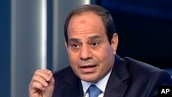 In this image made from video broadcast on Egypt's State Television, Egypt's retired Field Marshal Abdel-Fattah el-Sissi listens to a question during an interview in a nationally televised program in Cairo, Egypt, May 5, 2014.