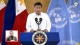 Tồng thống Philippines Rodrigo Duterte phát biểu với LHQ hôm 21/9/2021. (ảnh tư liệu)