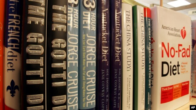 A row of a bookshelf at the Book House at Stuyvesant Plaza in Albany, N.Y., is filled with various diet books