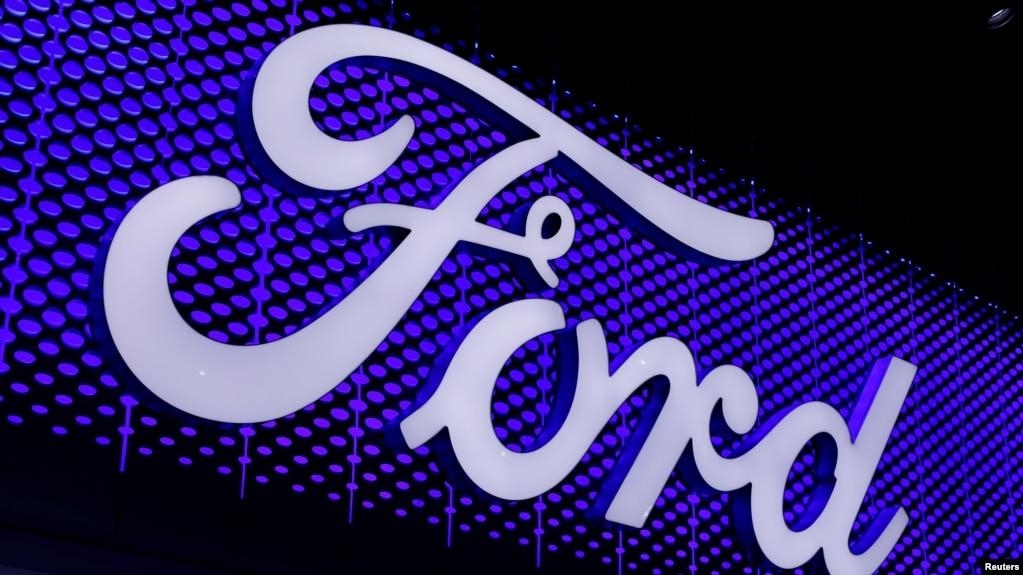 洛杉矶车展上的福特汽车公司标志。(2017年11月30日)