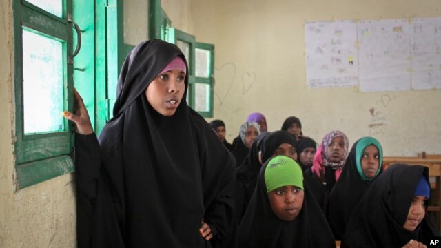 Teen-aged girls attend an after-school discussion of female genital mutilation at the Sheik Nuur Primary School in Hargeisa, Somaliland on Feb. 16, 2014.