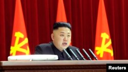 North Korean leader Kim Jong Un presides over a plenary meeting of the Central Committee of the Workers' Party of Korea in Pyongyang March 31, 2013.