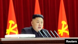 North Korean leader Kim Jong Un presides over a plenary meeting of the Central Committee of the Workers' Party of Korea in Pyongyang, March 31, 2013.