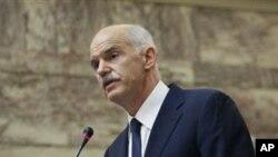 긴급각료회의에서 그리스 총리 게오르기오스 파판드레우