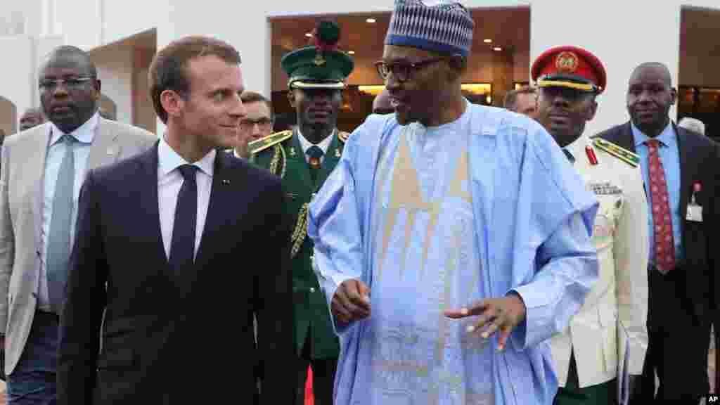 Shugaba Muhammadu Buhari na Najeriya da shugaba Emmanuel Macron na kasar Faransa