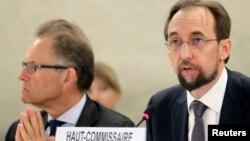유엔 인권최고대표직을 맡은 제이드 라아드 알 후세인 신임 대표가 8일 스위스 제네바 유엔 사무소에서 발언하고 있다.