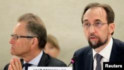 Cao Ủy Nhân quyền LHQ, Hoàng tử Jordan Zeid Ra'ad al Hussein, phát biểu trước Hội đồng Nhân quyền ở Geneva, ngày 8/9/2014.