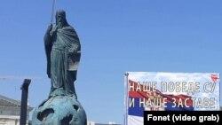 Spomenik Stefanu Nemanji u Beogradu uoči obeležavanja Dana zastave (Fonet)