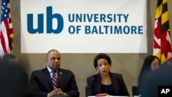 Bộ trưởng Tư pháp Hoa Kỳ Loretta Lynch nói chuyện tại Đại học Baltimore, 5/5/15