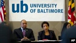 Jaksa Agung AS berbicara dengan para anggota Kongres dan pemuka agama di University of Baltimore (5/5). (AP/Jose Luis Magana, Pool)