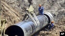 러시아 국내 가스관 공사 현장 (자료사진)