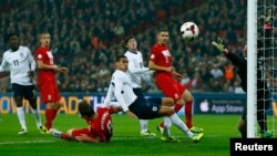 England played against Poland during their 2014 World Cup qualifying soccer match at Wembley Stadium in London October 15, 2013.