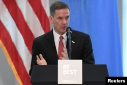 """USAID administrator Mark Green introduces U.S. first lady Melania Trump at a reception on her initiative """"Be Best"""" at the United States mission to the U.N. on the sidelines of the United Nations General Assembly in New York, Sept. 26, 2018."""