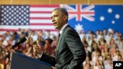 15일 호주 퀸즈랜드대학에서 연설하는 오바마 대통령