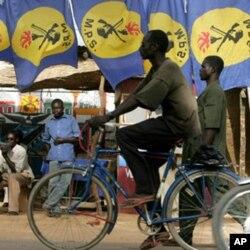 Des membres du Mouvement patriotique du salut (MPS), parti du présdient Déby Itno, à N'Djaména