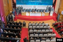 The National Electoral Authority announces that presidential candidate Moussa Mustafa Moussa got 2.92 percent of the total votes cast during the presidential election, during a press conference in Cairo, Egypt, April 2, 2018. (H. Elrasam/VOA)