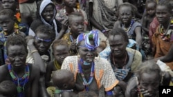 Victims of ethnic violence in Jonglei, South Sudan, wait in line at the World Food Program distribution center in Pibor to receive emergency food rations on Jan.12, 2012.
