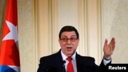 Menteri Luar Negeri Kuba, Bruno Rodriguez berbicara di Wina, Austria (19/6).