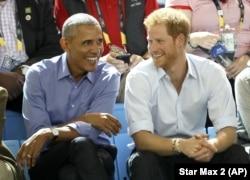 Príncipe Harry y Barack Obama durante los Invictus Games, Toronto, Canadá. Septiembre 29, 2017.