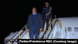 Le président Félix Tshisekedi à sa descente d'avion à l'aéroport de Dulles, Viriginie, le 2 avril 2019. (Twitter/Présidence RDC)