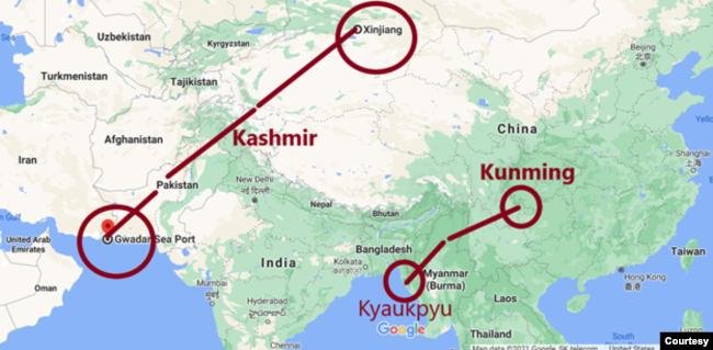 Khoảng cách từ cảng Gwadar của Pakistan đến Tân Cương [Xinjiang] và khoảng cách từ Kyaukpyu của Miến Điện đến Côn Minh [Kunming]. Ảnh: Google Map. Chú thích và minh họa của tác giả.