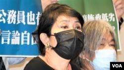 民主派立法會議員毛孟靜批評當局強推公務員宣誓效忠,加強白色恐怖, 擔心影響公營廣播機構香港電台的編輯自主。(美國之音湯惠芸)